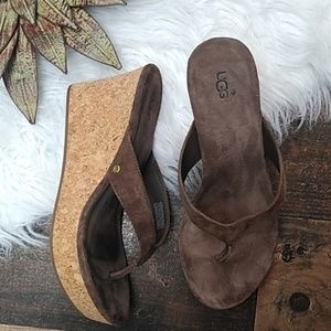 Ugg Brown Cork Wedges